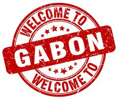 welcome to Gabon red round vintage stamp - stock illustration