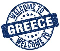 Welcome to Greece blue round vintage stamp Piirros