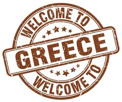 welcome to Greece brown round vintage stamp - stock illustration
