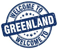 welcome to Greenland blue round vintage stamp - stock illustration