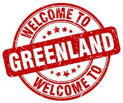 welcome to Greenland red round vintage stamp - stock illustration