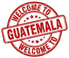 Welcome to Guatemala red round vintage stamp Stock Illustration