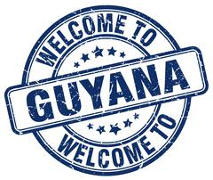 welcome to Guyana blue round vintage stamp - stock illustration