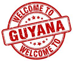 welcome to Guyana red round vintage stamp - stock illustration