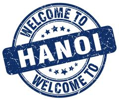 Welcome to Hanoi blue round vintage stamp Stock Illustration