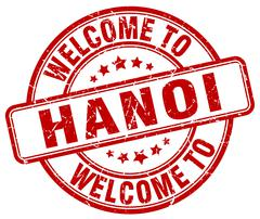 Welcome to Hanoi red round vintage stamp Stock Illustration