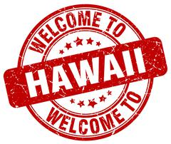 Welcome to Hawaii red round vintage stamp Stock Illustration