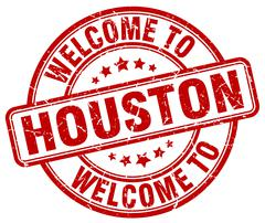 Welcome to Houston red round vintage stamp Stock Illustration
