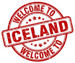 welcome to Iceland red round vintage stamp - stock illustration
