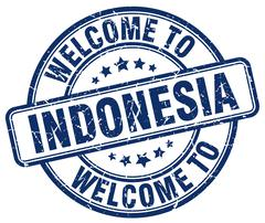 welcome to Indonesia blue round vintage stamp - stock illustration