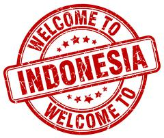 Welcome to Indonesia red round vintage stamp Stock Illustration