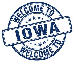 Welcome to Iowa blue round vintage stamp Piirros