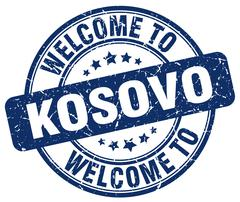 Welcome to Kosovo blue round vintage stamp Stock Illustration