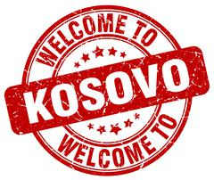welcome to Kosovo red round vintage stamp - stock illustration