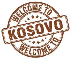 welcome to Kosovo brown round vintage stamp - stock illustration