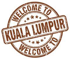 welcome to Kuala Lumpur brown round vintage stamp - stock illustration