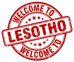 welcome to Lesotho red round vintage stamp - stock illustration