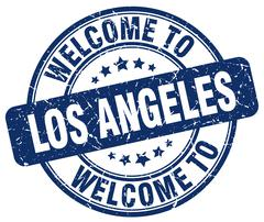 welcome to Los Angeles blue round vintage stamp - stock illustration