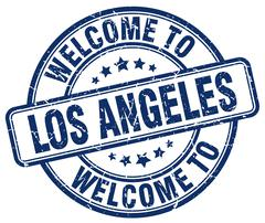 Welcome to Los Angeles blue round vintage stamp Stock Illustration