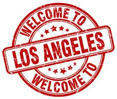 Welcome to Los Angeles red round vintage stamp Stock Illustration