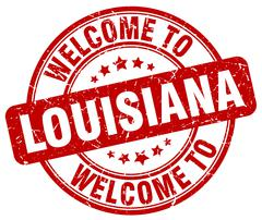 welcome to Louisiana red round vintage stamp - stock illustration