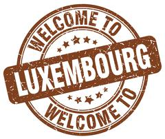 welcome to Luxembourg brown round vintage stamp - stock illustration