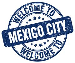 Welcome to Mexico City blue round vintage stamp Piirros