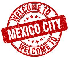 Welcome to Mexico City red round vintage stamp Piirros