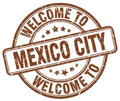 Welcome to Mexico City brown round vintage stamp Piirros
