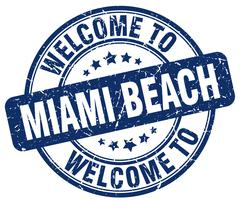 welcome to Miami Beach blue round vintage stamp - stock illustration