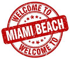 welcome to Miami Beach red round vintage stamp - stock illustration
