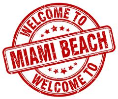 Welcome to Miami Beach red round vintage stamp Stock Illustration