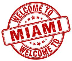 welcome to Miami red round vintage stamp - stock illustration