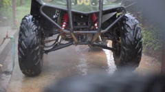 Washing  ATV with high pressure plum Stock Footage