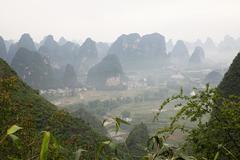 China, guangxi province, yangshuo, moon hill - stock photo