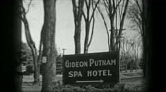 1938: Gideon Putnam Spa Hotel fantasy treatment wealthy health escape. SARATOGA Stock Footage