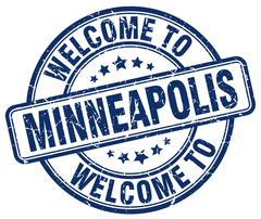 Welcome to Minneapolis blue round vintage stamp Piirros