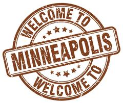 Welcome to Minneapolis brown round vintage stamp Piirros
