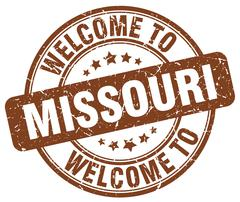 welcome to Missouri brown round vintage stamp - stock illustration