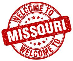 welcome to Missouri red round vintage stamp - stock illustration