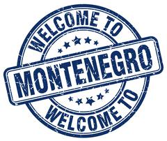 Welcome to Montenegro blue round vintage stamp Stock Illustration