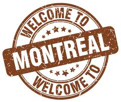 welcome to Montreal brown round vintage stamp - stock illustration
