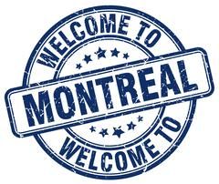 welcome to Montreal blue round vintage stamp - stock illustration