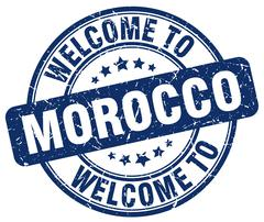 Welcome to Morocco blue round vintage stamp Stock Illustration