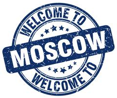 welcome to Moscow blue round vintage stamp - stock illustration