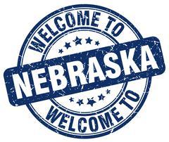 welcome to Nebraska blue round vintage stamp - stock illustration