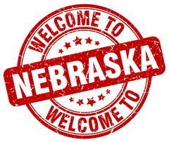 welcome to Nebraska red round vintage stamp - stock illustration