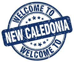 welcome to New Caledonia blue round vintage stamp - stock illustration
