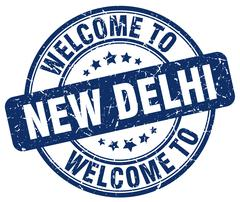 Welcome to New Delhi blue round vintage stamp Stock Illustration
