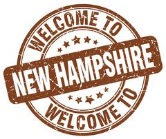 Welcome to New Hampshire brown round vintage stamp Stock Illustration